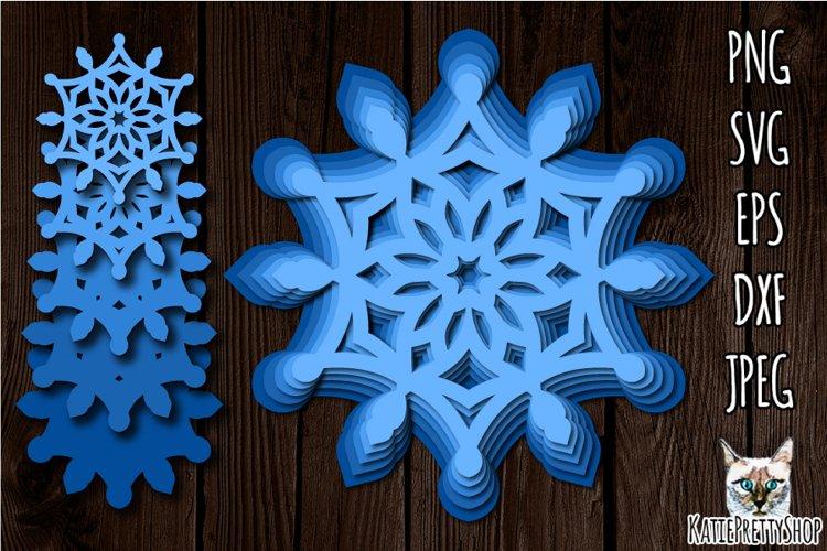 3D Layered Snowflake SVG, Christmas Papercut, lazer cut file example image 1