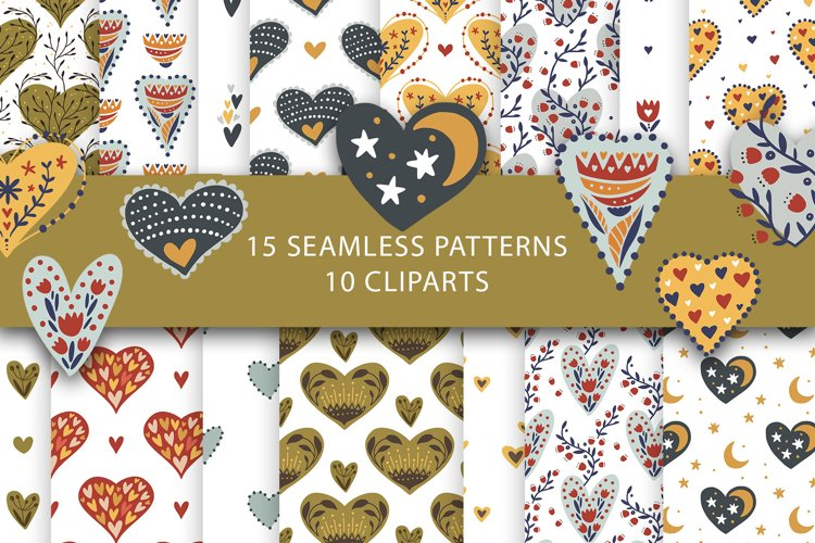 Valentine Love Patterns and Cliparts