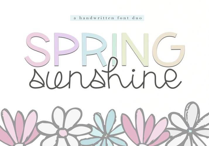 Spring Sunshine - A Serif & Script Font Duo example image 1