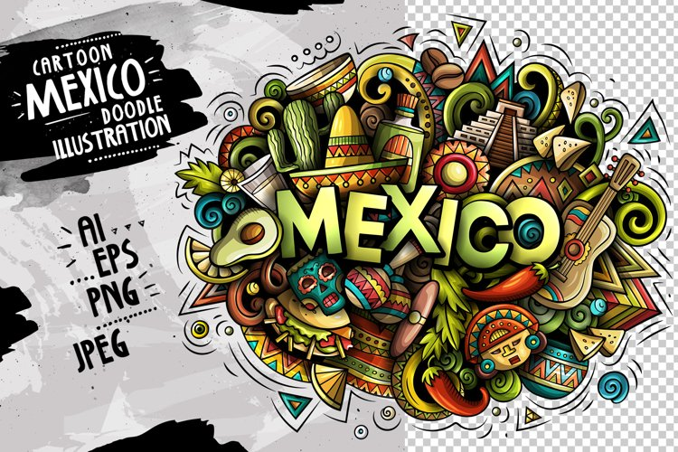 MEXICO Cartoon Doodle Illustration example image 1