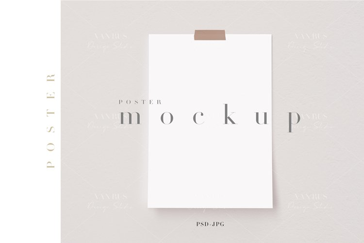 A4, A3 Poster Mockup/Taped Digital Poster Display/JPG PSD/N8