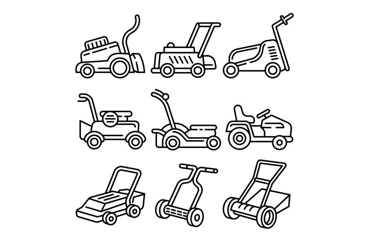 Lawnmower icons set, outline style example image 1