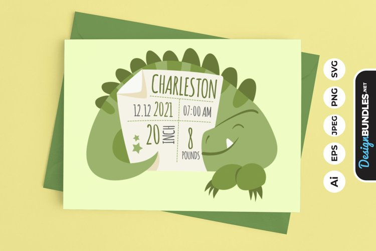 Birth Stats Cute T-Rex example image 1