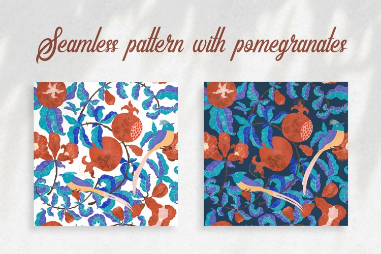 Digital pattern with Pomegranates and Birds example image 1