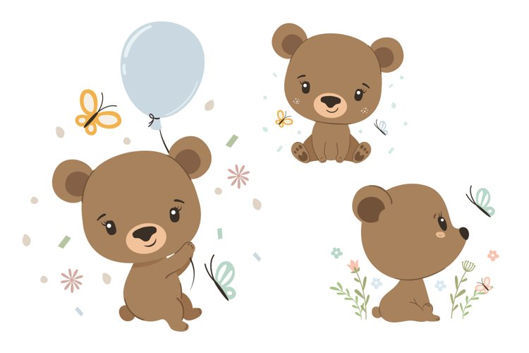 Bear clipart, summer clipart, PNG, EPS, JPG example image 1