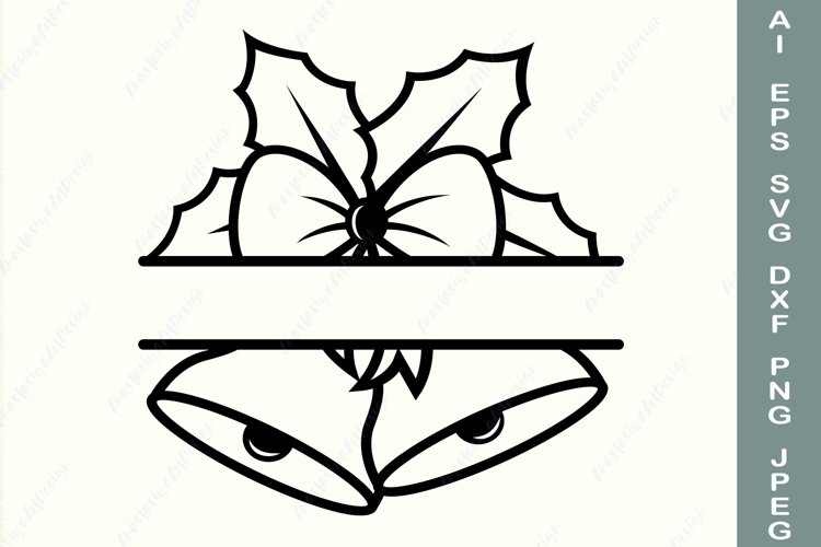 Christmas frame svg, Split monogram svg, Christmas bell dxf example image 1