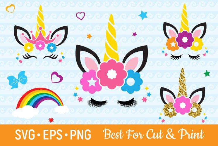 Unicorn SVG Eyelashes Svg Magical Horn SVG Bithday Girl SVG example image 1