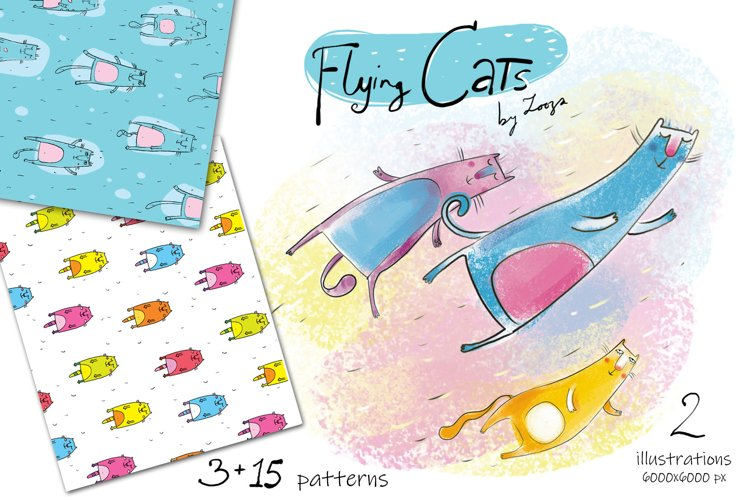 Flying Cats - patterns, illustrations example image 1