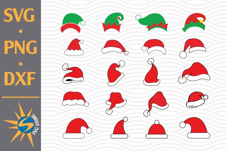 Santa Hat, Elf Hat SVG, PNG, DXF Digital Files Include example image 1
