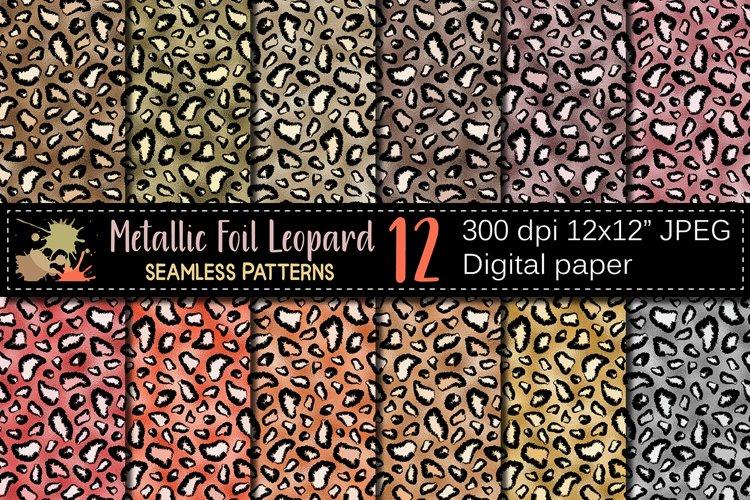 Leopard Metallic Foil Seamless Patterns / Digital Paper