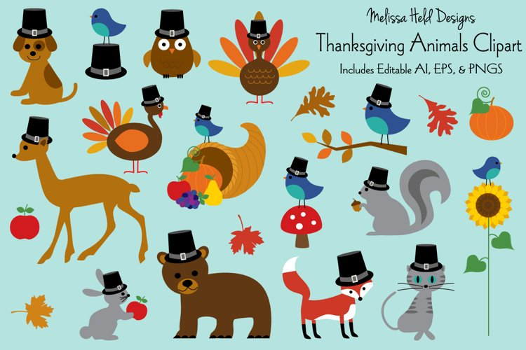 Thanksgiving Animals Clipart example image 1