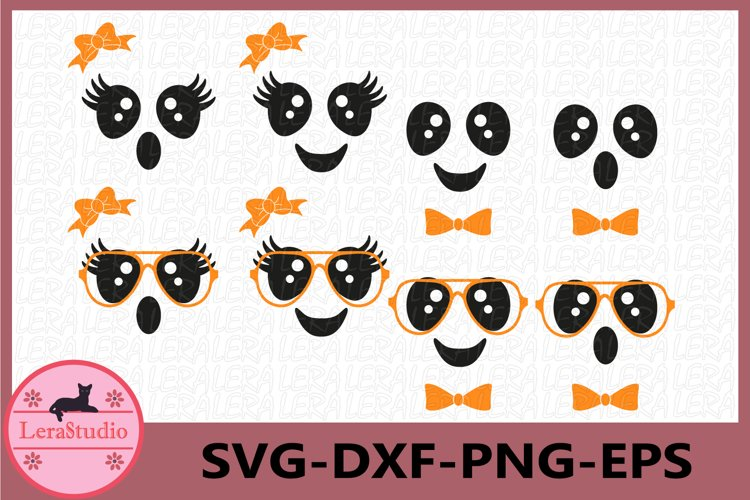 Cute Faces Svg, Cute ghost Faces Svg, Halloween Clipart example image 1