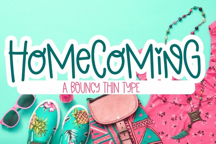 Web Font Homecoming - A Bouncy Thin Monoline Font example image 1