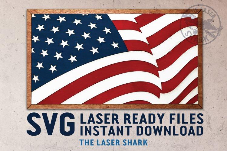 American Flag SVG Laser Cut files for Glowforge