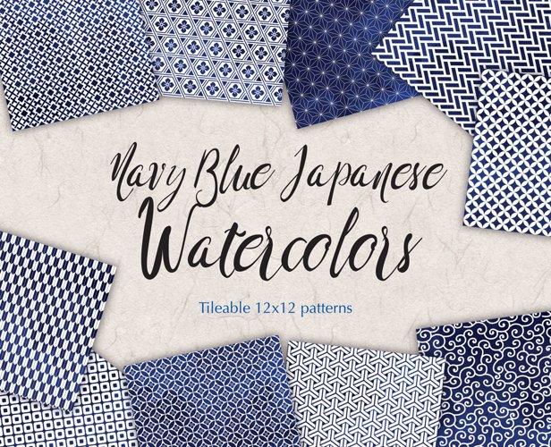 Navy Blue Digital Paper Japanese Background Patterns example image 1