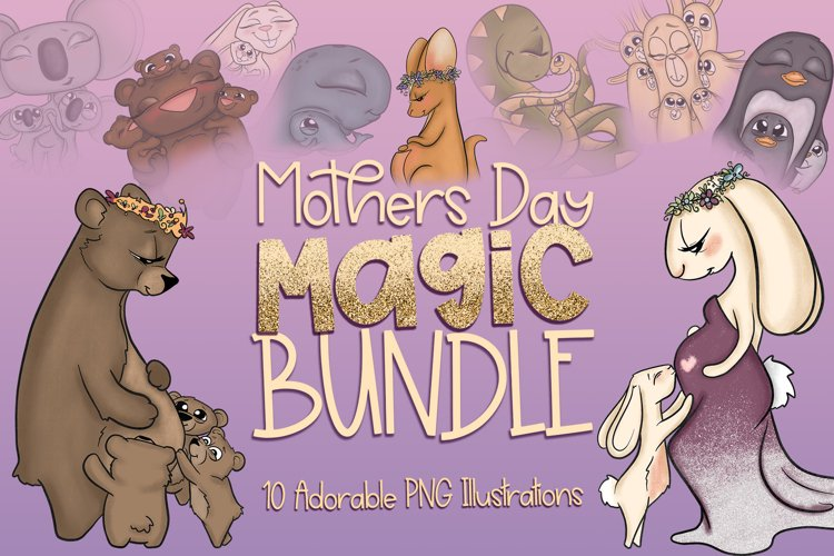 Mothers Day Magic Bundle|Mothers Day Clipart|Animal Mothers