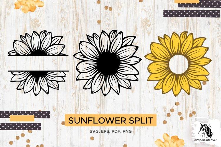 Sunflower SVG Clipart Floral SVG Sunflower Monogram Split example image 1