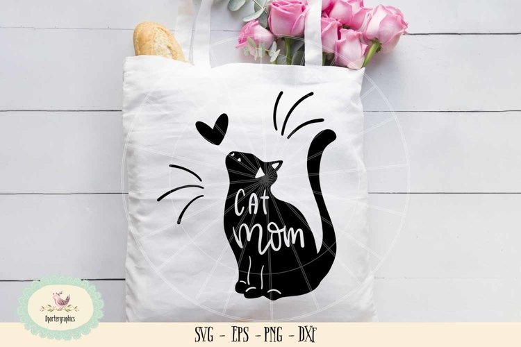 Cat mom SVG cut file, cat lover example image 1