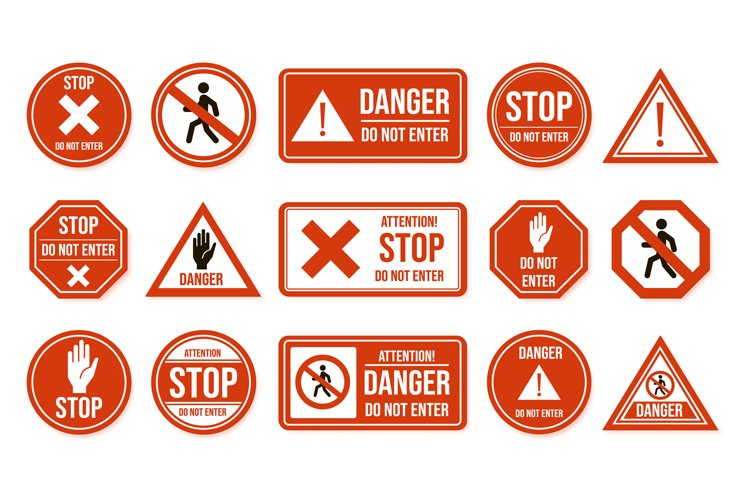 Traffic stop signs. Do not enter, warning traffic road sign. example image 1