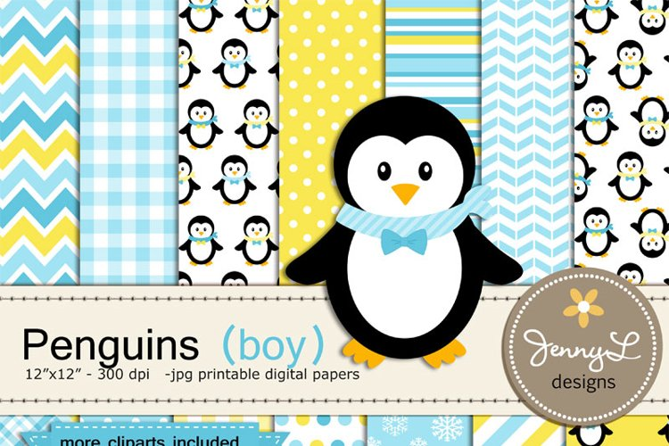 Penguin Boy Digital Paper and Penguin Clipart, Winter, Snow Penguins example image 1