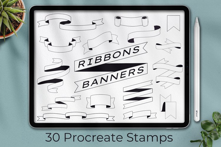 30 Procreate Banner Stamp, Ribbon stamps, Planner Stamps example image 1