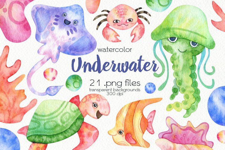 Watercolor Underwater Clipart - PNG Files example image 1
