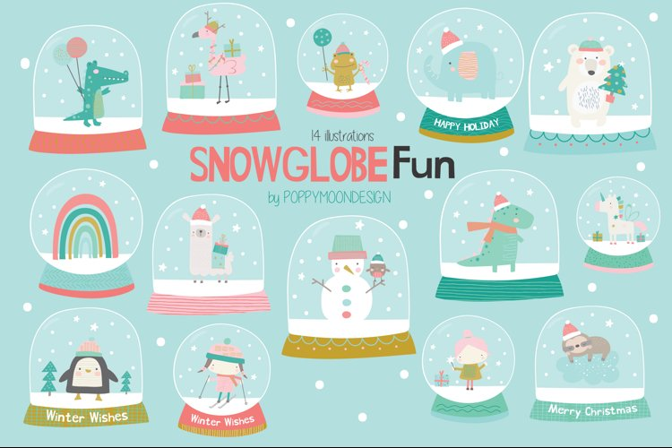 Snowglobe fun clipart and paper set example image 1