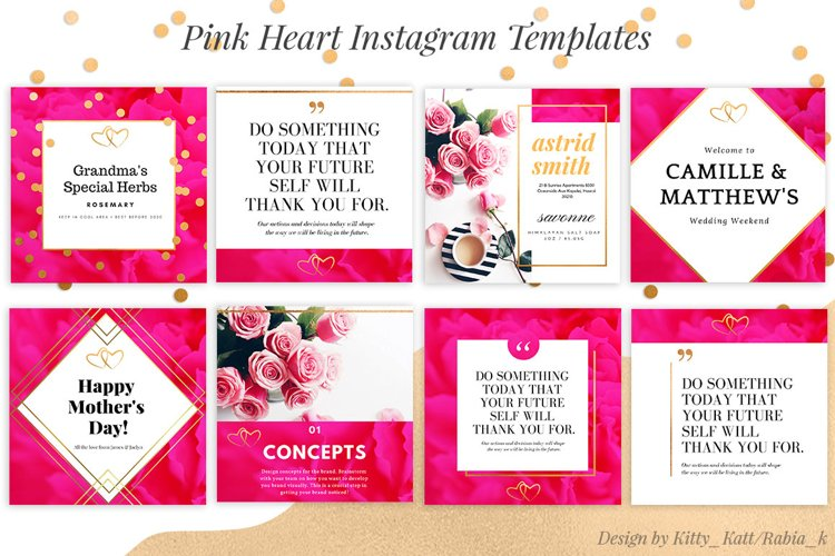 Pink Heart Ready made Instagram Canva Template example image 1