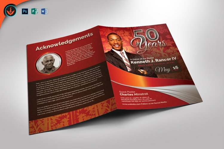 Red Silver Anniversary Program Photoshop, Word, Publisher example image 1