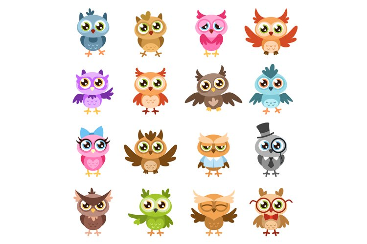 Owls. Color cute wise owl stickers, birthday kids shower fun