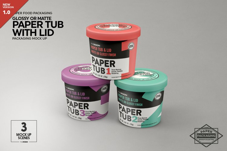 Paper Tub with Lid Packaging Mockup example image 1