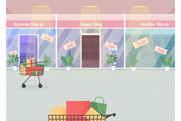 Mall during seasonal sale flat color vector illustration example image 1
