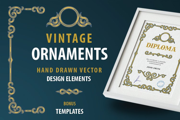 Vintage style hand drawn ornaments. example image 1