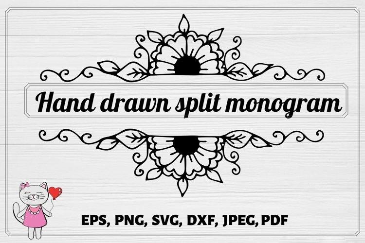 Split Monogram SVG, Fall SVG , Floral Cut File example image 1