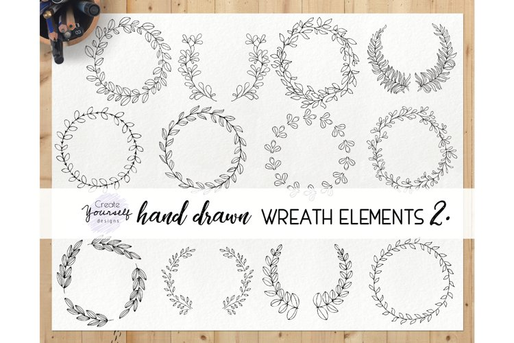 Hand drawn wreath clipart set - doodle wreath clip art example image 1