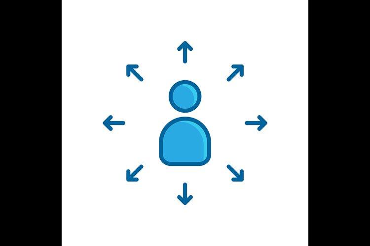 people arrow blue flat icon example image 1