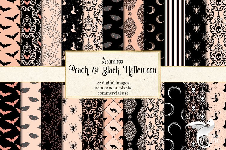 Peach and Black Halloween Digital Paper example image 1