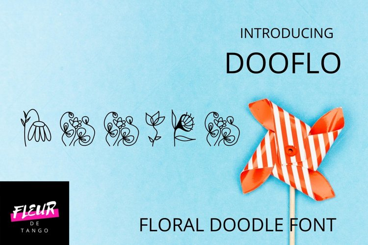 Dooflo - an amazing doodle floral font example image 1