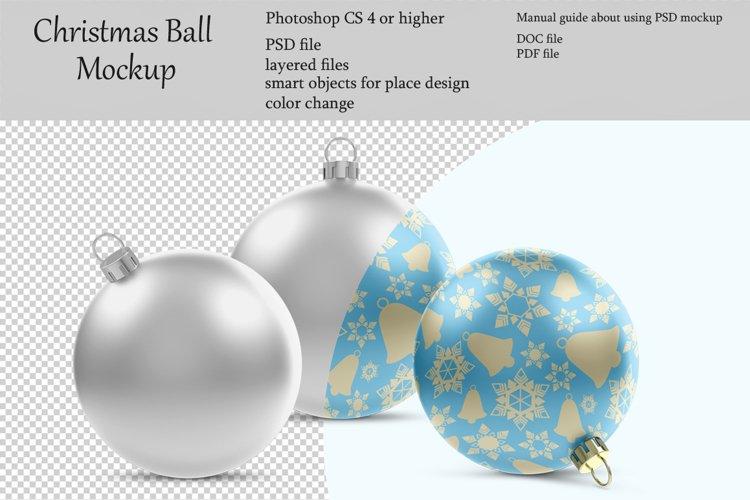 Christmas ball mockup. Product place. PSD object mockup. example image 1