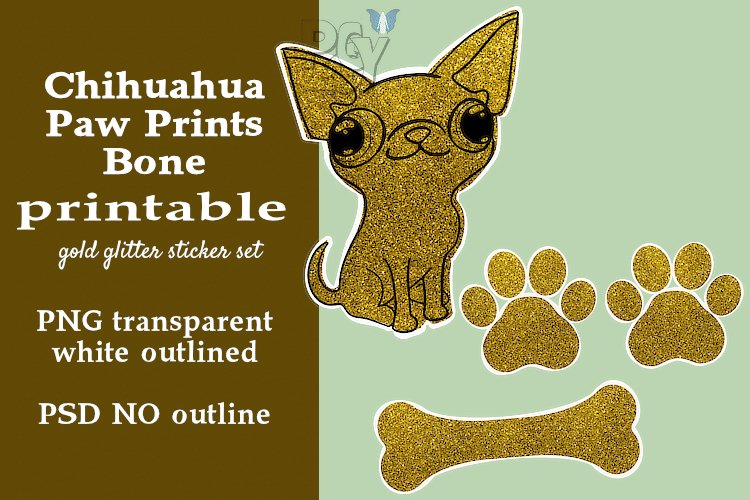 Chihuahua Gold Glitter Printable Sticker SET example image 1