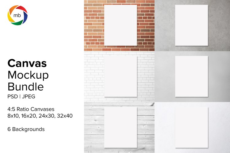 Art Canvas Mockup Bundle for 8x10 Artwork - PSD & JPEG