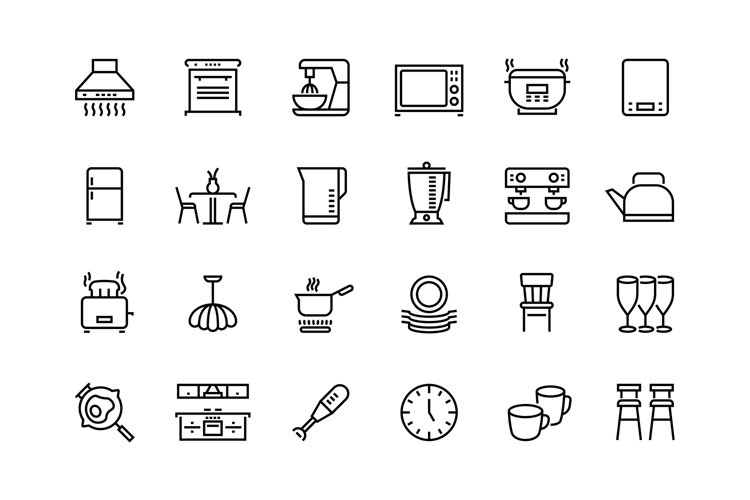 Kitchen line icons. Furniture appliances and utensils for ki example image 1