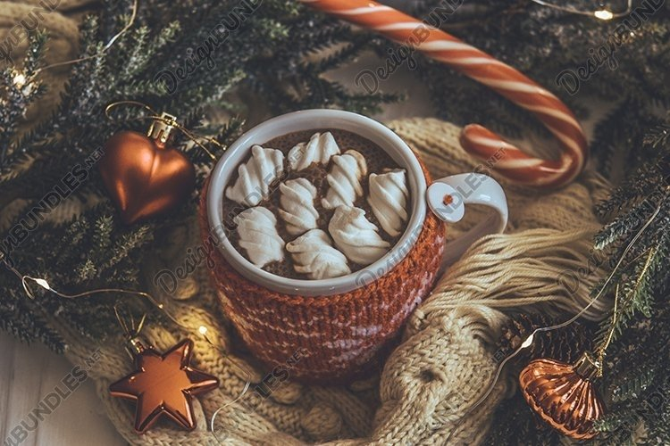 Cup of hot cocoa with marshmallows example image 1
