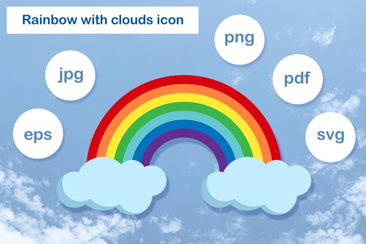 Illustration of the rainbow and clouds. example image 1