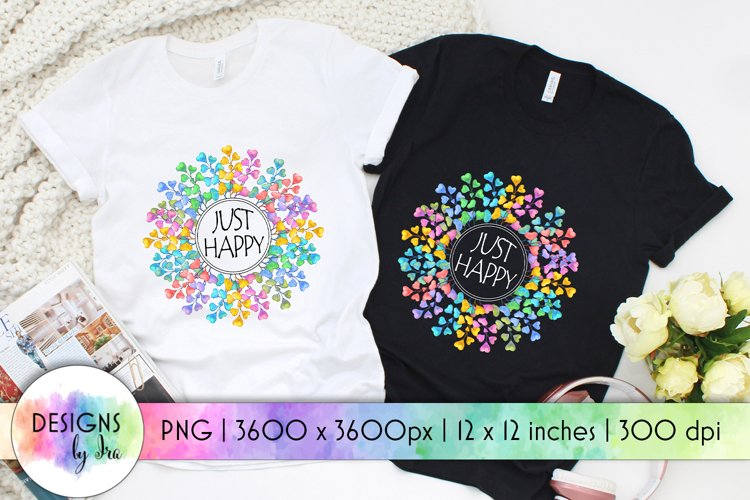 Just Happy Sublimation | Rainbow Wreath | Positive Quotes example image 1