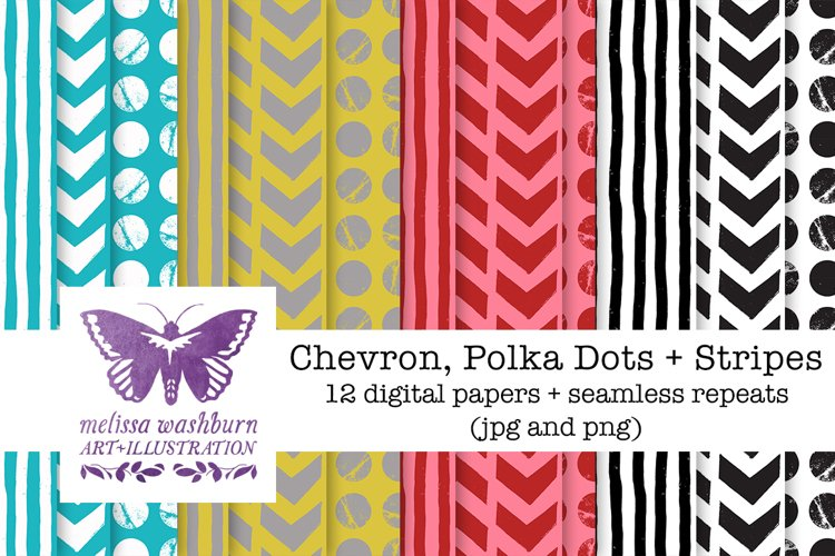 Chevrons, Dots + Stripes Paper Pack example image 1