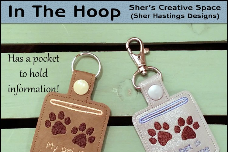 ITH Pet Home Alone Paw Print Key Fob with Pocket - Snap Tab Machine Embroidery example image 1