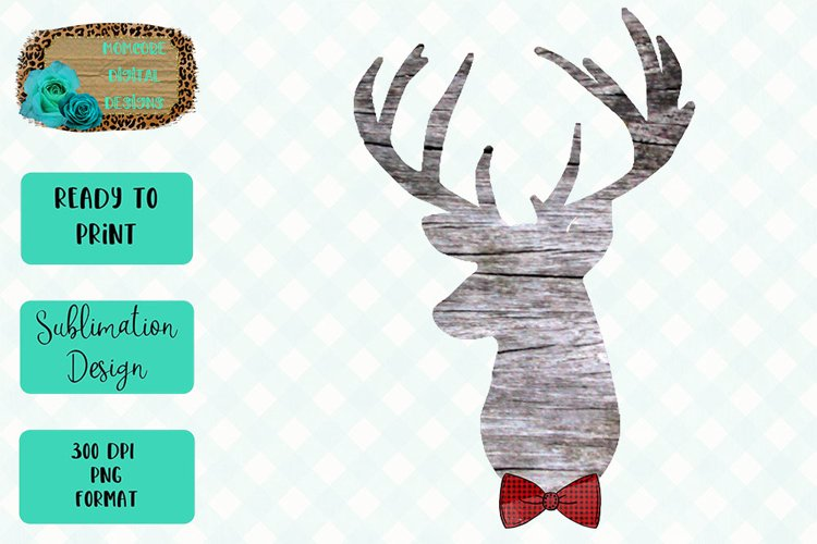 Deer Head with Bow Tie Sublimation Design example image 1
