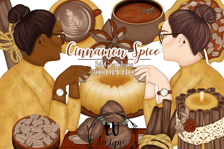Cinnamon Spice Clipart, Fall Coffee Graphics, Autumn Clipart