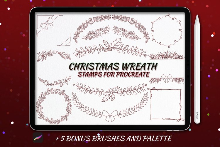 20 Christmas Wreath Stamp Brushes for Procreate example image 1